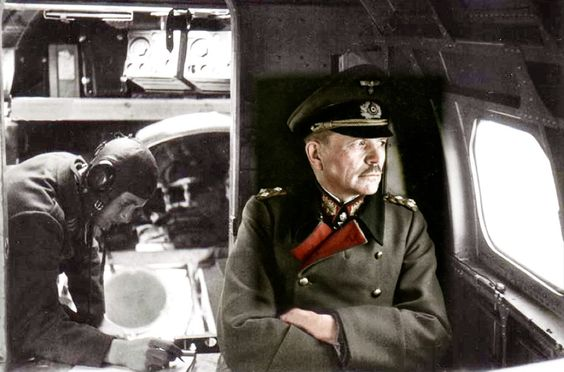 General Heinz Guderian (1888-1954) being transported to the Eastern Front (1943, partially colorized). He was tank expert who became one of the principal architects of armored warfare and the blitzkrieg between World Wars I and II, and who contributed decisively to Germany's victories in Poland, France, and the Soviet Union early in World War II.