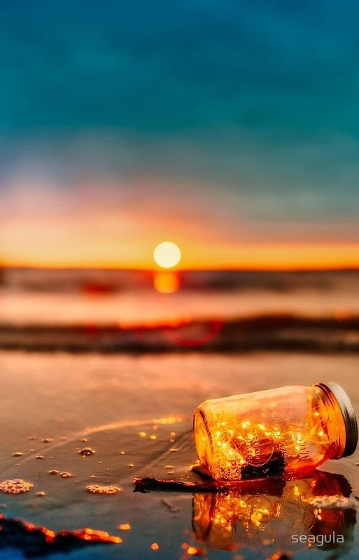 Sunset Just Setting With Glass Jar Lit Wallpaper Beautiful Wallpapers Sunset Wallpaper