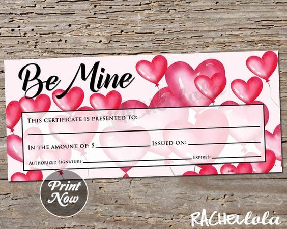 Be Mine Printable Gift Certificate Template Valentine S Day Photography Session Spa Na Gift Certificate Template Printable Gift Certificate Printable Gift