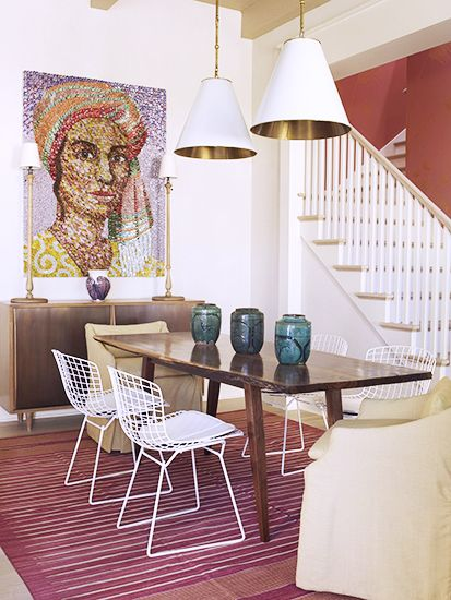 Bottle cap mosaic // Bertoia chair, dining room: Dining Rooms, Beach House, Bottle Cap, Dining Table, Wire Chair, Bottlecap Artwork