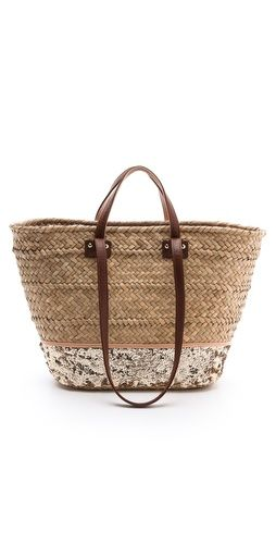 Perfect for trips to the lake and river. Straw/sequin beach tote.