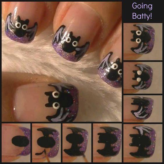 Going Batty DIY Nail Design nails paint diy design polish halloween step by step pictorial bat