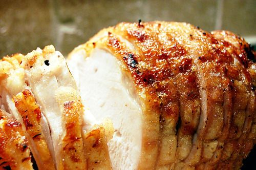 Honey Baked Turkey Breast....Yep, i love the sweet/salty thing and this is genius! Uses a pre-cooked breast (or..20 min. before done) and i would use honey/brown sugar mix instead of white sugar....