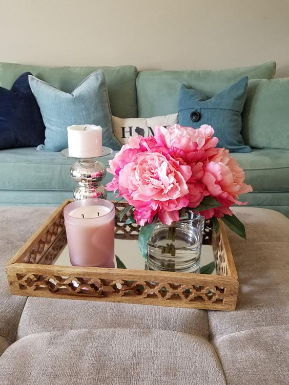 Large Pink Peonies in a Round Glass Vase Handmade Home Decor