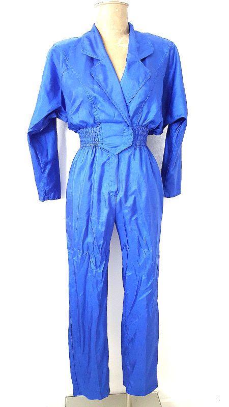 Electric Blue Jumpsuit Size XSmall Shiny Punk Vintage 80's Pantsuit Disco #JoanWalters #Jumpsuit