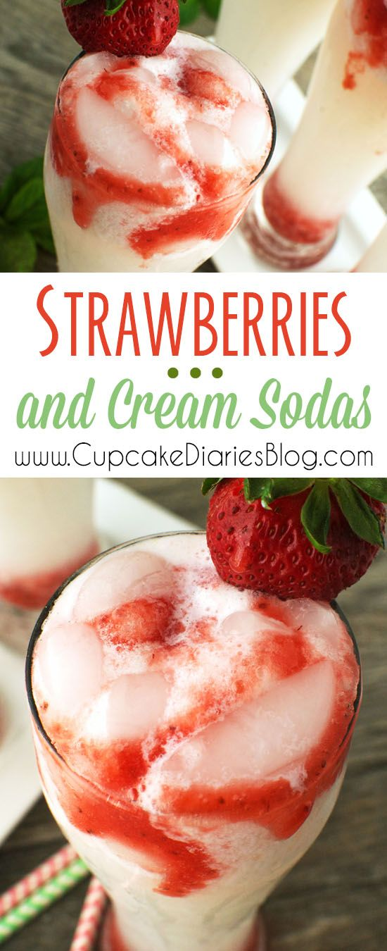 Strawberries and Cream Sodas Recipe via Cupcake Diaries - A creamy soda is swirled with sweet strawberry syrup and served over ice. This is the perfect drink for summer! The BEST Easy Non-Alcoholic Drinks Recipes - Creative Mocktails and Family Friendly, Alcohol-Free, Big Batch Party Beverages for a Crowd! #mocktails #virgindrinks #alcoholfreedrinks #nonalcoholicdrinks #familyfriendlydrinks #partypunch #partydrinks #newyearseve #partydrinkrecipes