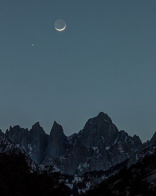 Crescent Moon with Mars And Venus over #mount #withney #california by Jeff Sullivan