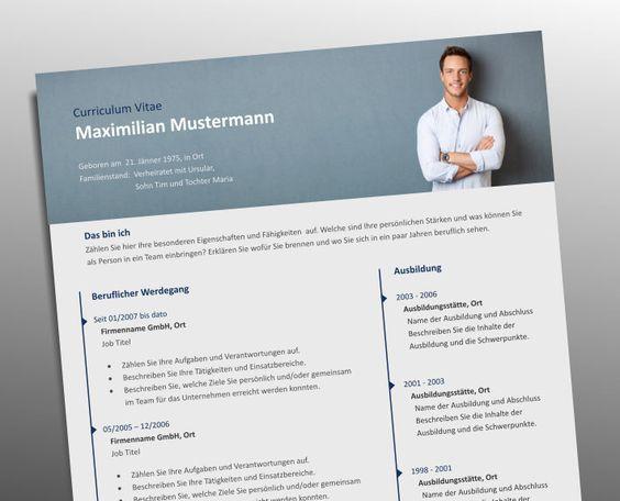 Top Job Bewerbung | Profi Lebenslauf Vorlage mit Foto Header