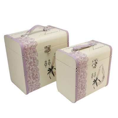 DECORATIVE STORAGE CASES - SET OF TWO - CREAM LILAC SOPHIA WITH ...