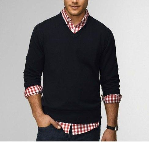 mens black v sweater, mens gingham shirt, mens jeans | Casual ...