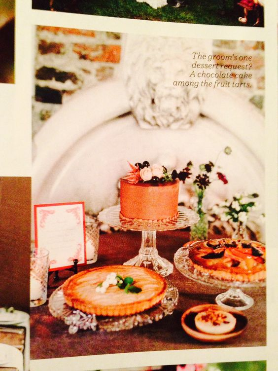 LOVE THIS WEDDING DESSERT TABLE. Glass cake stands, pies, etc.
