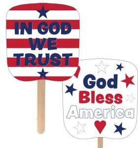 free printable patriotic fan in god we trust red white and blue