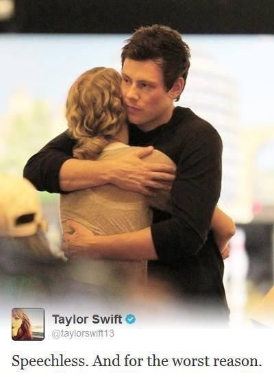 Taylor Swift's tweet about the death of her friend Cory Monteith (who played in the tv show Glee as Finn) ...I'm still in shock that he has passed away! He'll be missed on Glee!!!!! #RIPCoryMonteith :'(