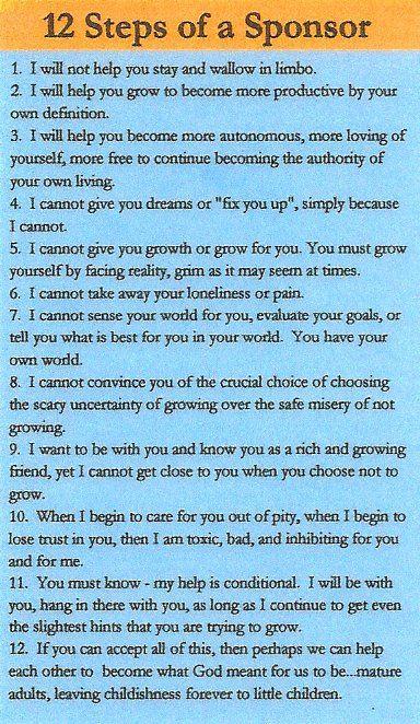 12 Steps of a Sponsor - a recovery essential.