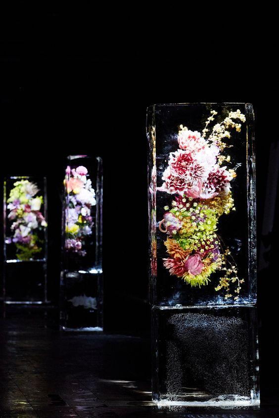Japanese artist Azuma Makoto's iced florals on the runway at Dries Van Noten's Spring 2017 show.