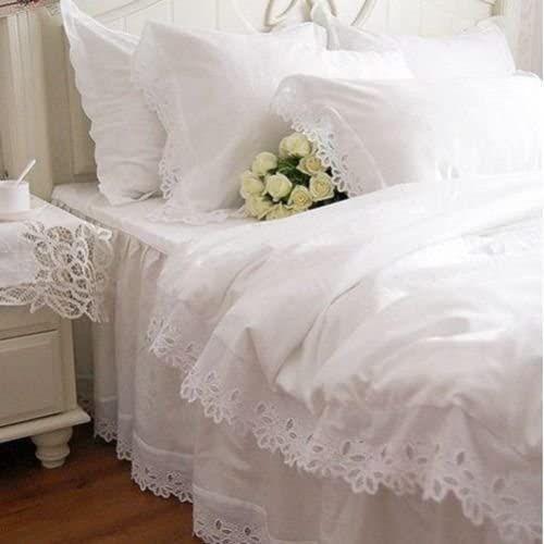 Swanlake Shabby And Elegant White Cutwork Lace Cotton Duvet Cover Bedding Set 1116 California King White Ruffle Bedding Ruffle Bedding Sets Bed Cover Design
