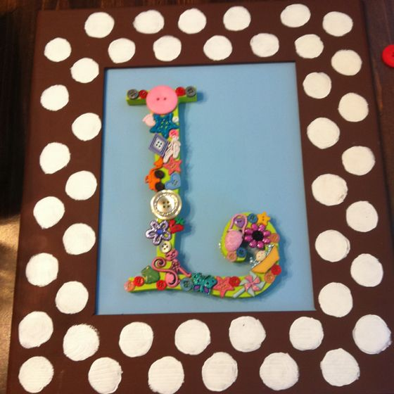 """Initial picture frame for baby girl """"Cute as a button"""" shower!"""