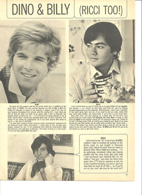 Dino, and Billy, Ricci Martin, Full Page Vintage Clipping: