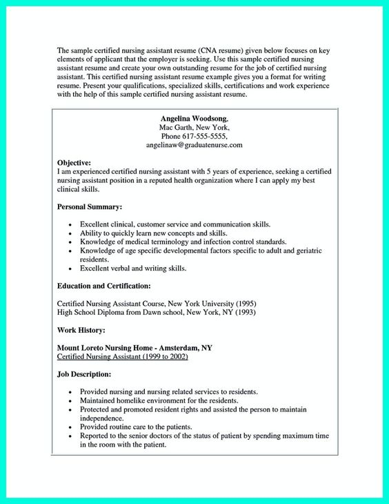 cool u201cMention Great and Convincing Skillsu201d, Said CNA Resume Sample - nursing assistant resume example