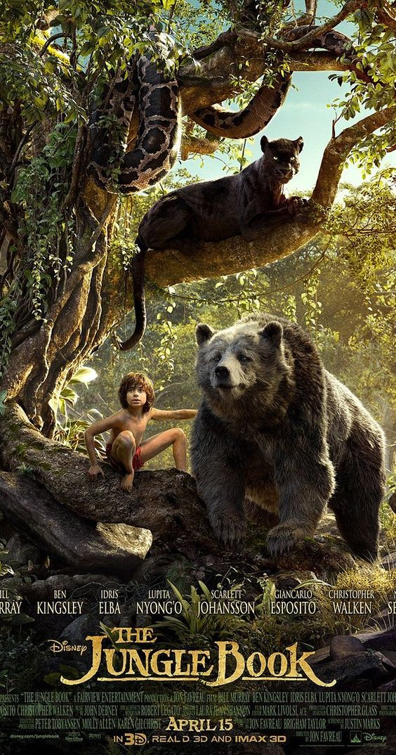 Directed by Jon Favreau.  With Lupita Nyong'o, Scarlett Johansson, Idris Elba, Saffron Burrows. An orphan boy is raised in the jungle with the help of a pack of wolves, a bear, and a black panther.