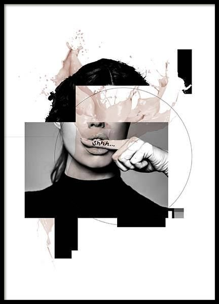 Shhh Poster In 2020 Collage Design Graphic Design Posters Fashion Wall Art