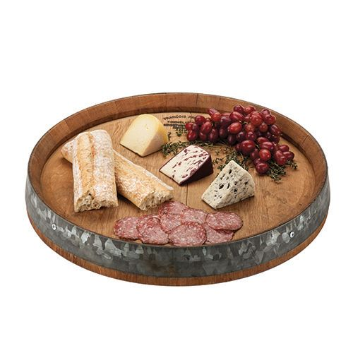 Rustic Farmhouse: Recycled Wine Barrel Lazy Susan Serving Tray - Twine