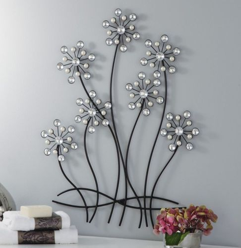Wall Decor With Crystal : D decorative faux pearls gems acrylic crystal flower