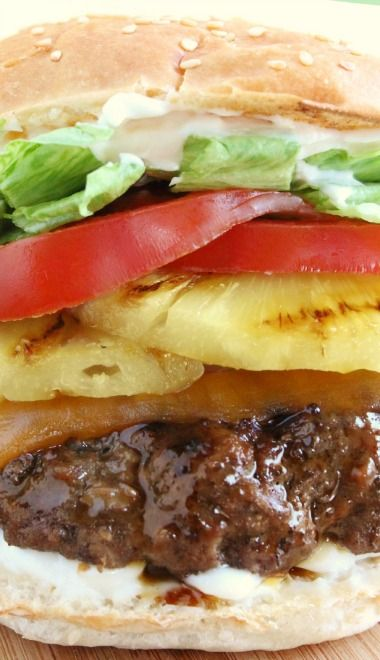 Red Robin's Banzai Burger Copycat Recipe ~ Marinated in Teriyaki and‏ Topped with Grilled Pineapple, Cheddar Cheese, Crisp Lettuce, Tomatoes, and Mayo.