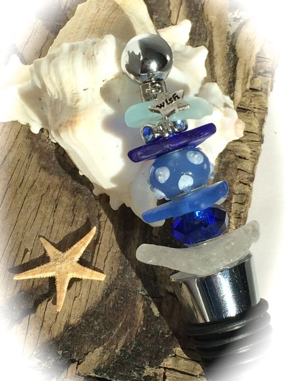 Wish Upon a Star  Wine Stopper Cobalt Blue by OceansideCreations1