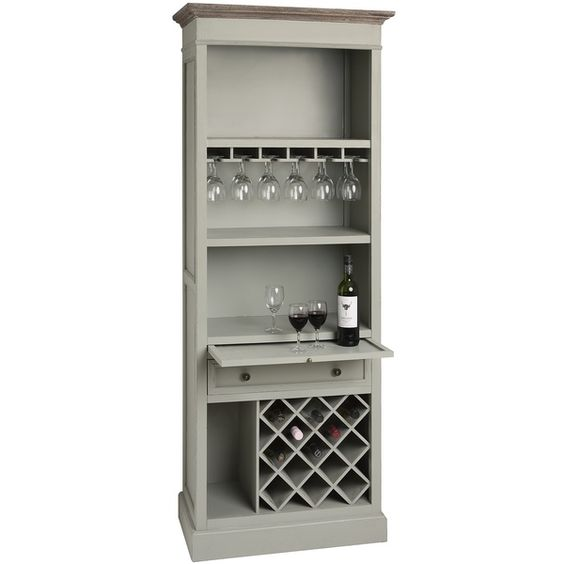 Ideal for entertaining, the Lyon Grey tall drinks cabinet is made from wood and comes in a light grey finish. There is room to store bottles of wine or other drinks in the lower part of the cabinet, and glasses can be hung at the top. You can also use the three shelves to prepare your drinks or to p