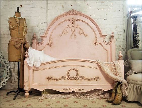 Still have my eye on you. Love this vintage pink head/foot board. So pretty!