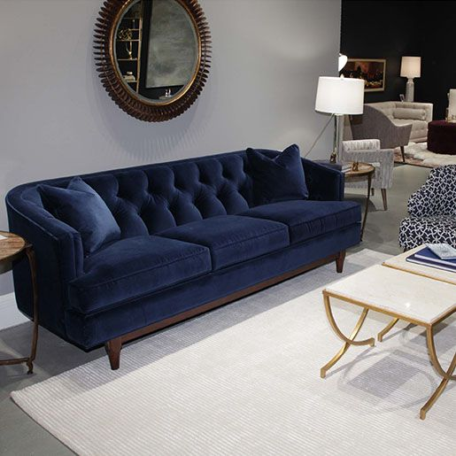 Emma Sofa In Two Sizes Creative Classics Velvet Sofa Living Room Living Room Sofa Design Blue Couch Living Room