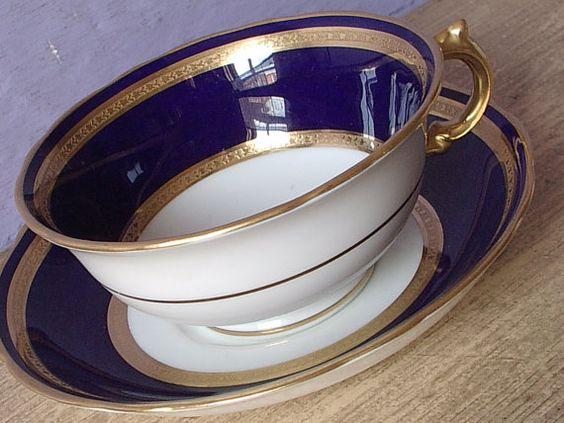Antique 1910's Adderleys Tea cup and Saucer, Blue tea cup, Antique teacup, Blue…