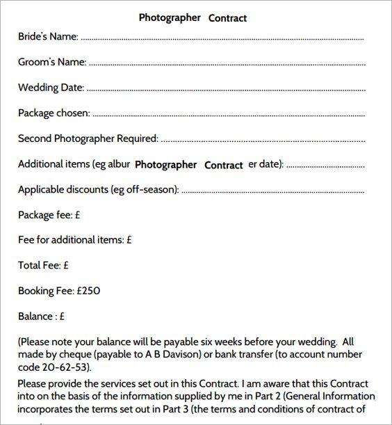 Photography Contract Template Delli Beriberi Co