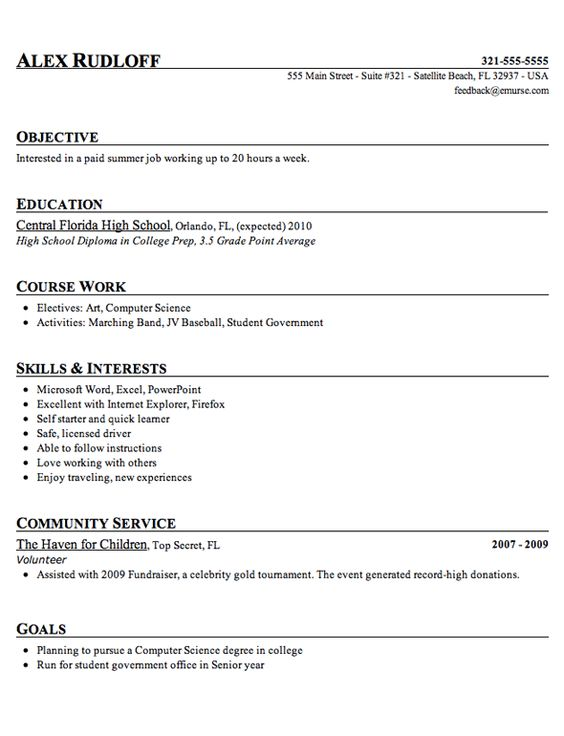 Resume, Entry level and Student resume on Pinterest