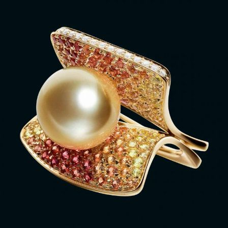 Les Colibris ring in 18-carat gold with golden South Sea pearl, diamonds and sapphires by Schoeffel