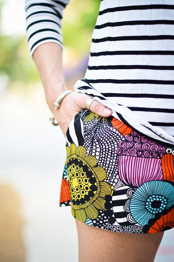 Mix It Up - love this combination of bright patterned shorts with striped top: