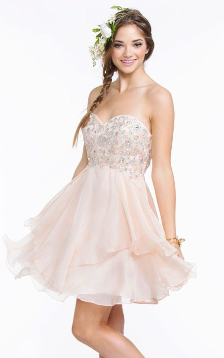 Pretty Beaded Lace Bodice A-line Cascaded Chiffon Prom Dress: