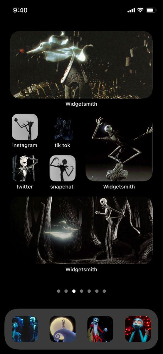 Ios 14 Halloween Homescreen Iphone Iphone Design Iphone Organization Iphone sally nightmare before christmas