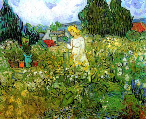 """Van Gogh ~ """"Marguerite Gachet in the Garden"""" (oil on canvas, 46.0 x 55.5 cm, June, 1890) ~ Musée d'Orsay ~ Paris, France"""