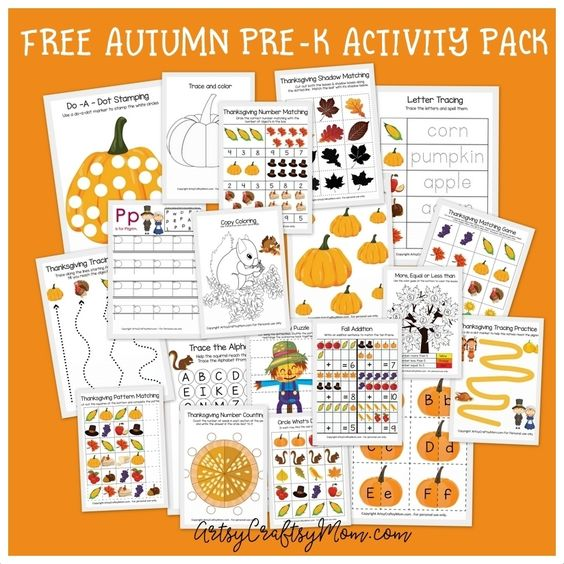 Free Thanksgiving Preschool Activity Pack - hese Math and Literacy Fall Printables for Kindergarten are great for morning work, homework, independent work, small group work.This Packet has it all and requires NO PREP! 25+ sheets