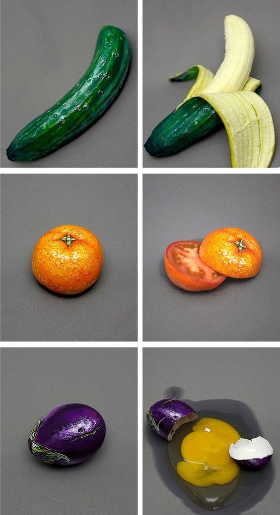 illusion fruit & vegetables: banana or cucumber? tomato or orange? egg or eggplant? #frutta #verdura: