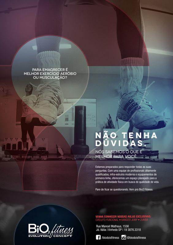 Outro trabalho desenvolvido para Bio2 Fitness. Com o objetivo de sanar as dúvidas dos alunos, temas relevantes da atividade física são desmistificados, o que mostra a preocupação da academia em instruir corretamente o aluno. Tudo por meio de uma identidade visual personalizada e condizente com o tema.