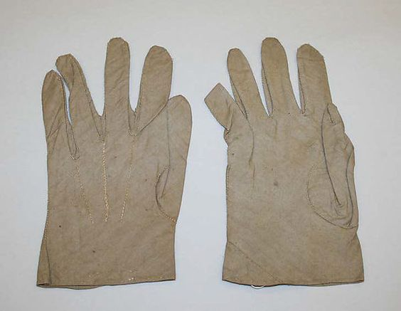 19th c Bias Cut Cotton Gloves