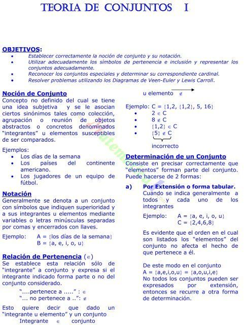 Teoria De Conjuntos I Matematicas Ejercicios Teoría De Conjuntos Matematica Ejercicios Lecciones De Matemáticas
