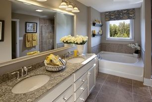 Traditional Master Bathroom with Complex granite counters, frameless showerdoor, Raised panel, Flat panel cabinets