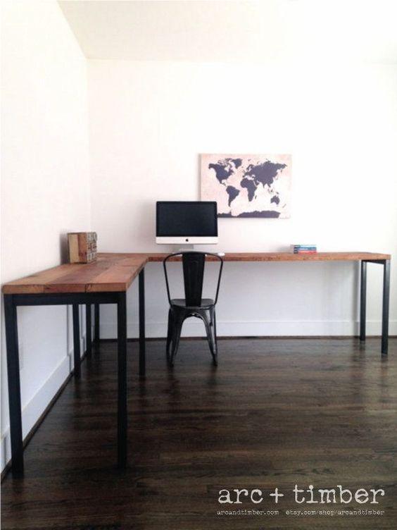 wood steel industrial desk and desks on pinterest. Black Bedroom Furniture Sets. Home Design Ideas