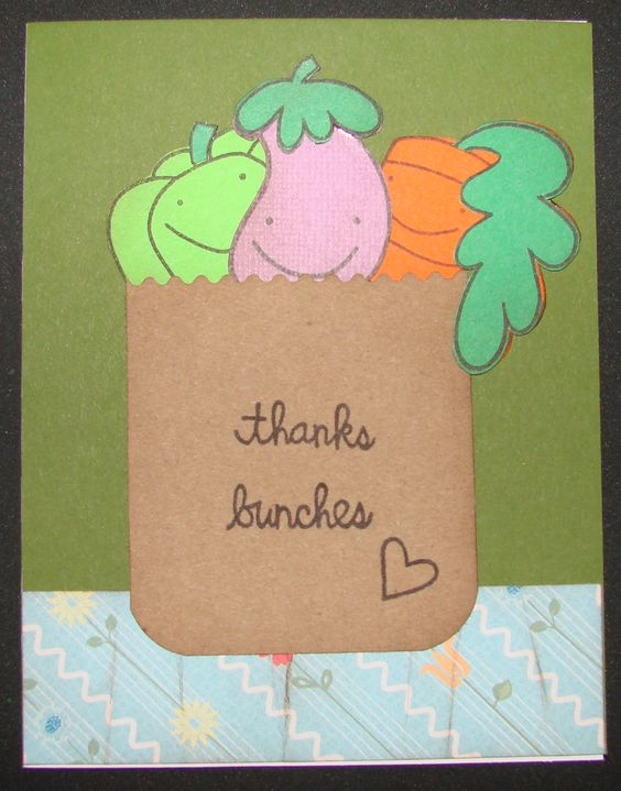 Paper Smooches Stamps - Thanks Bunches - in grocery bag handmade card.