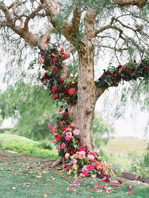 Incredible ombré cascading tree installation as ceremony backdrop by The Southern Table