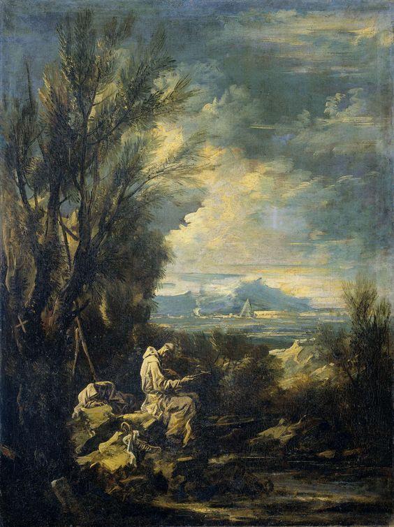Alessandro Magnasco   Landscape with Saint Bruno ?, Alessandro Magnasco, 1700 - 1749   Landschap met een karthuizer kluizenaar, wellicht de heilige Bruno. De heilige zit in een landschap aan de oever van een beek op rotsen in gebed verzonken met een kruis in de handen. Pendant van SK-A-3408.